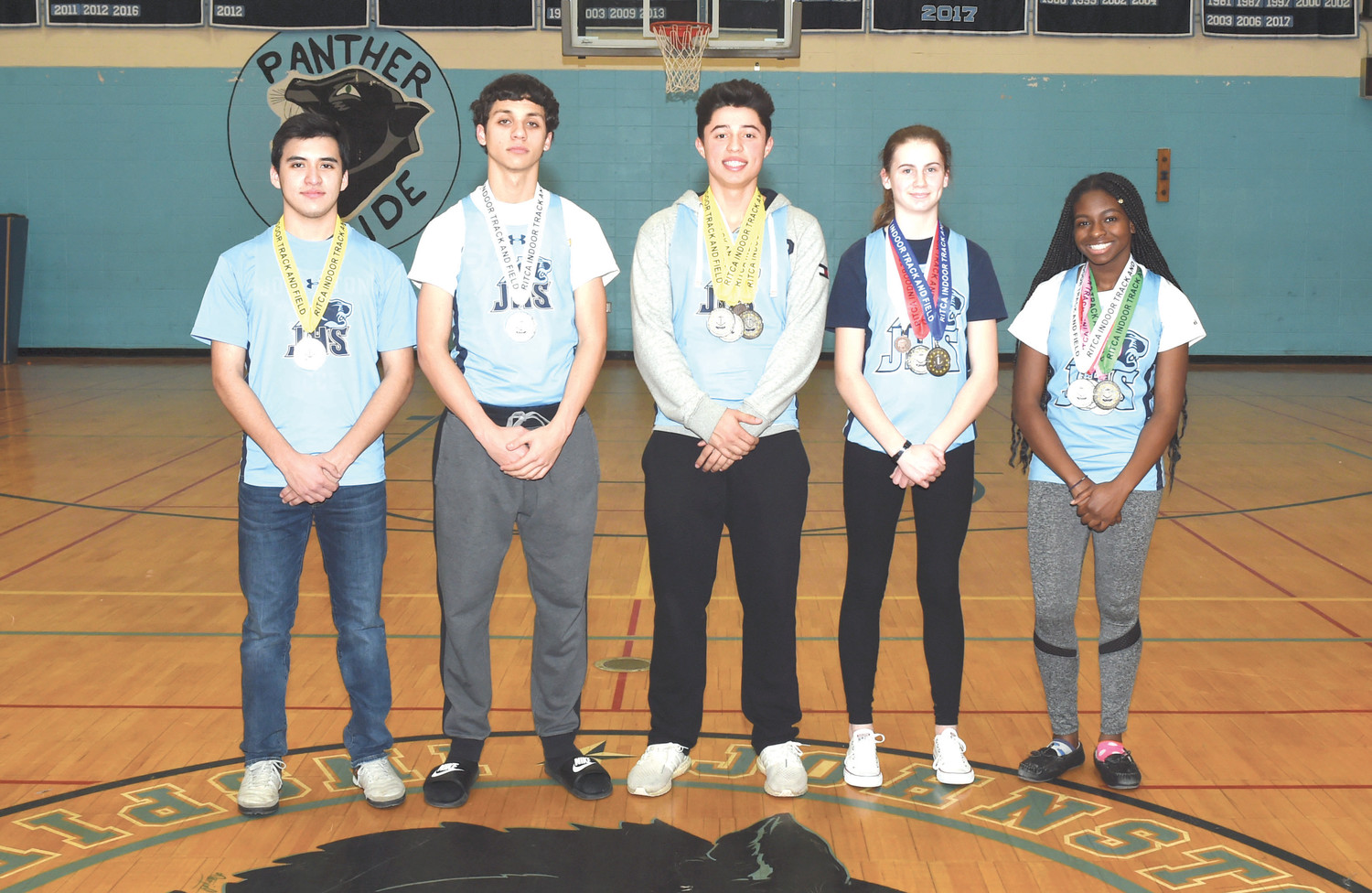 PROLIFIC PANTHERS: Those Johnston High students who won individual medals during the indoor track and field season are, from left: Carlos Fragoso, Sean Young, Frank Heredia, Brynn Roche and Lala Olagundoye. (Submitted photo)