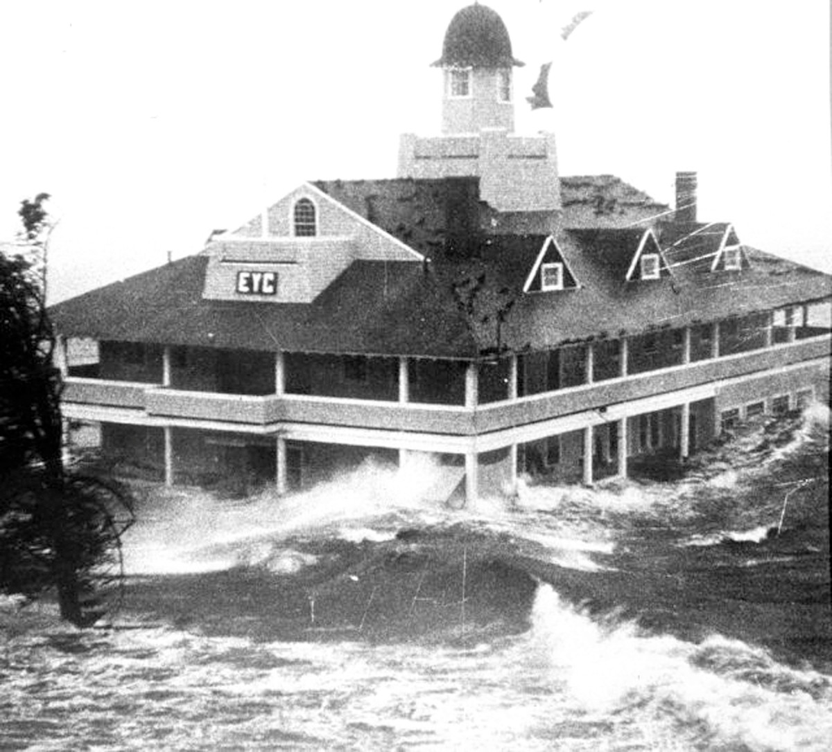 EYC at the height of Hurricane Carol, September, 1954.