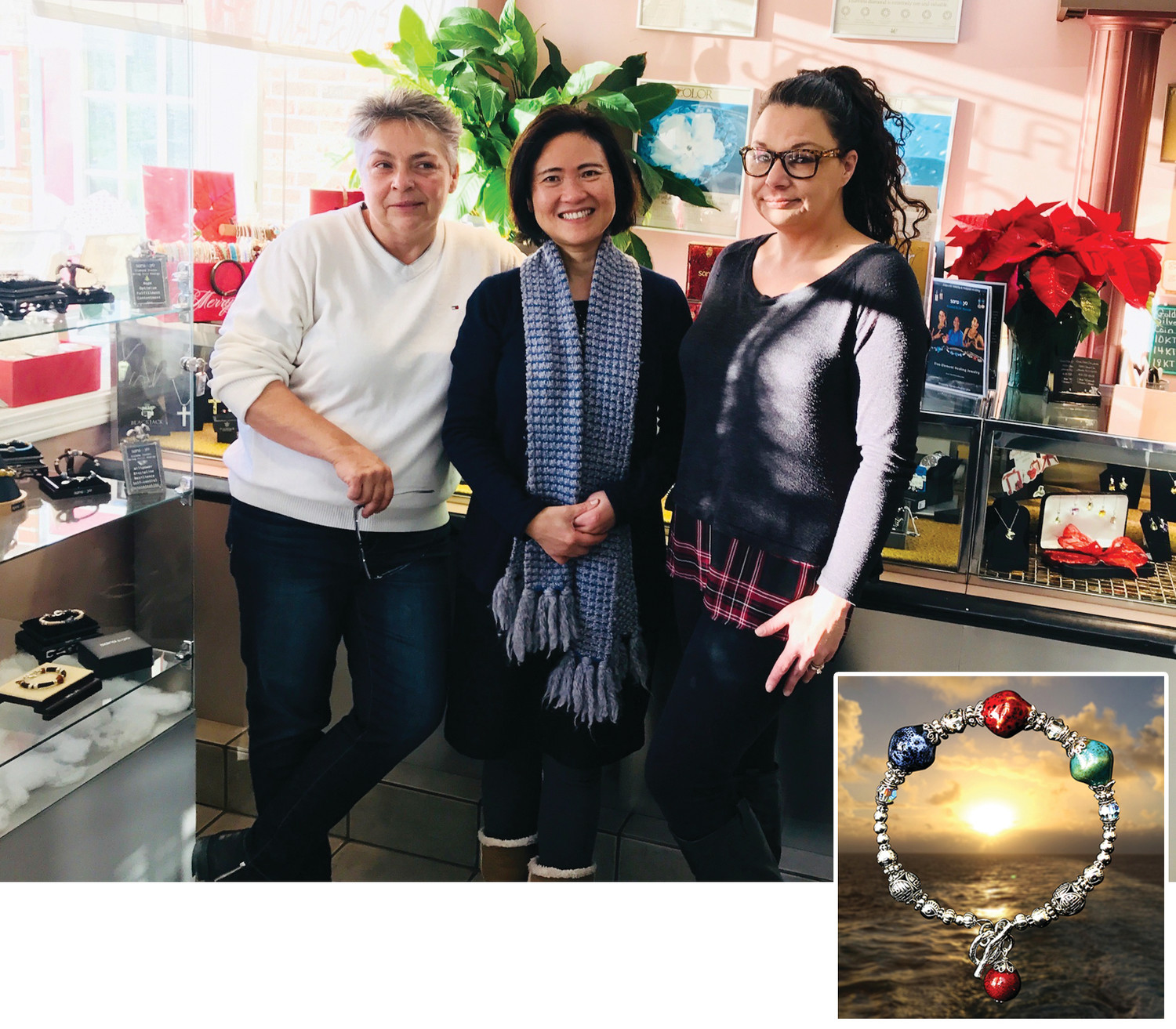 "Talented creator of Sara Yo Spirit Jewelry, Dr .Hannah Hershoff, is seen here flanked by Alicia and Veronica, the owners of Ocean State Jewelers where her extraordinary ""healing"" jewelry is sold  (including the custom-designed pieces showcased above)."