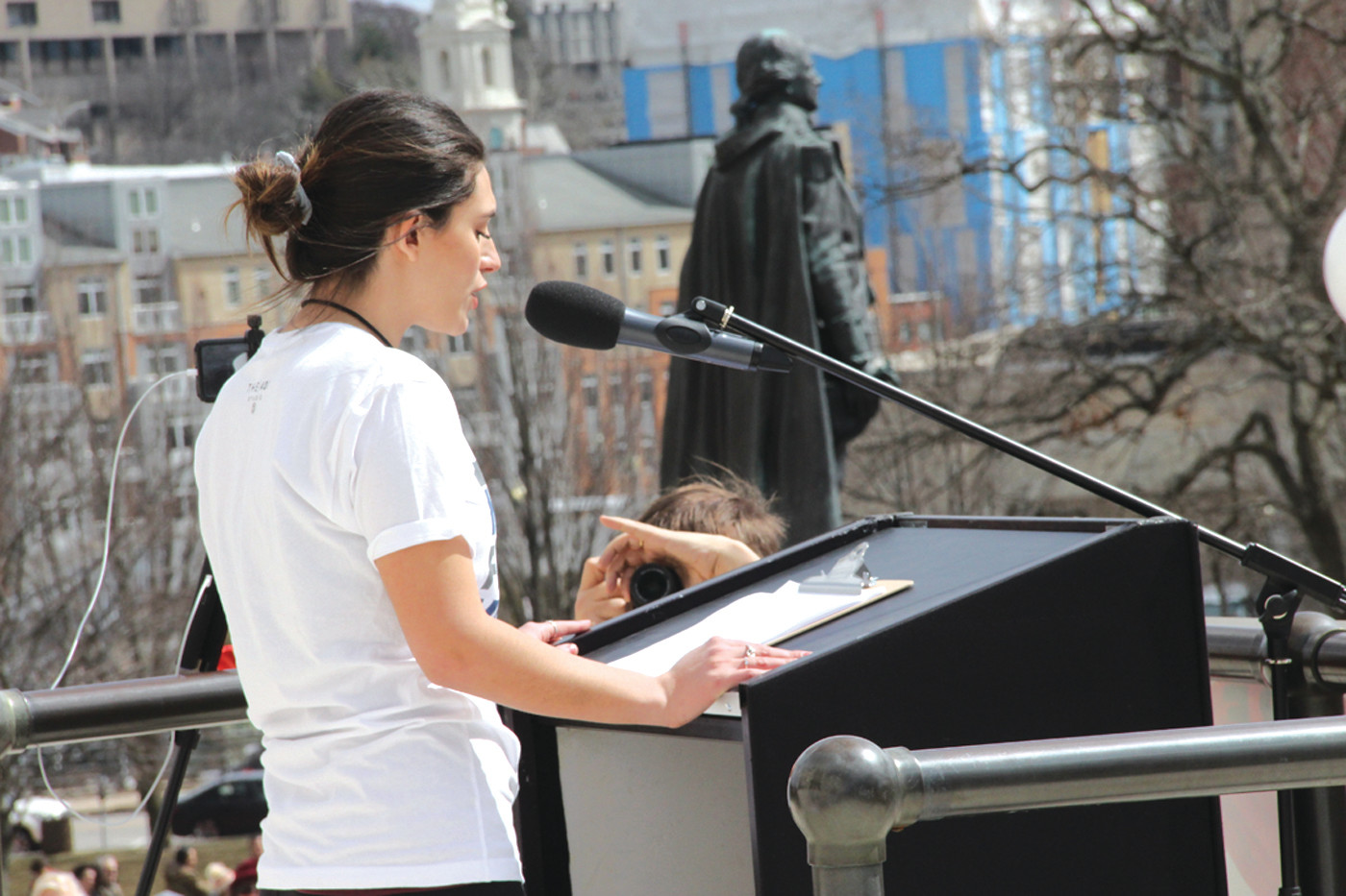 MAKING IT HAPPEN: Sophia Capalbo, a junior at Johnson & Wales University, organized the march.