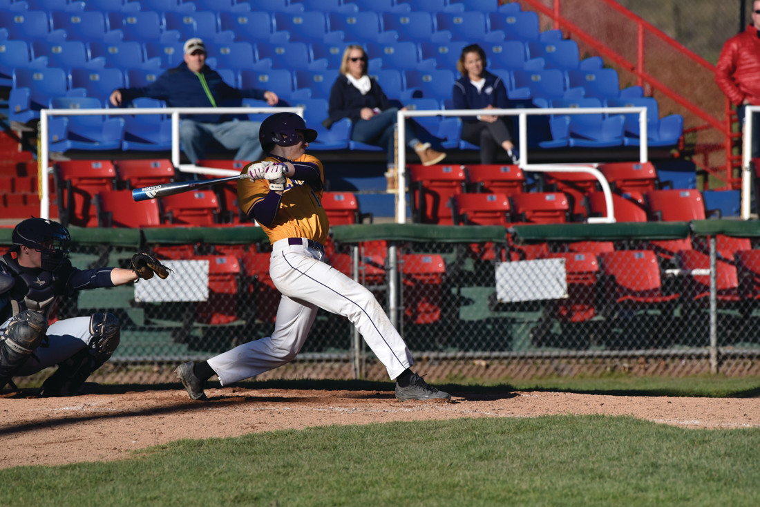 LEFTY LINK: Harrison Zambarano, who can played the infield and outfield, rips a hit during the 2017 Elmira College baseball season.