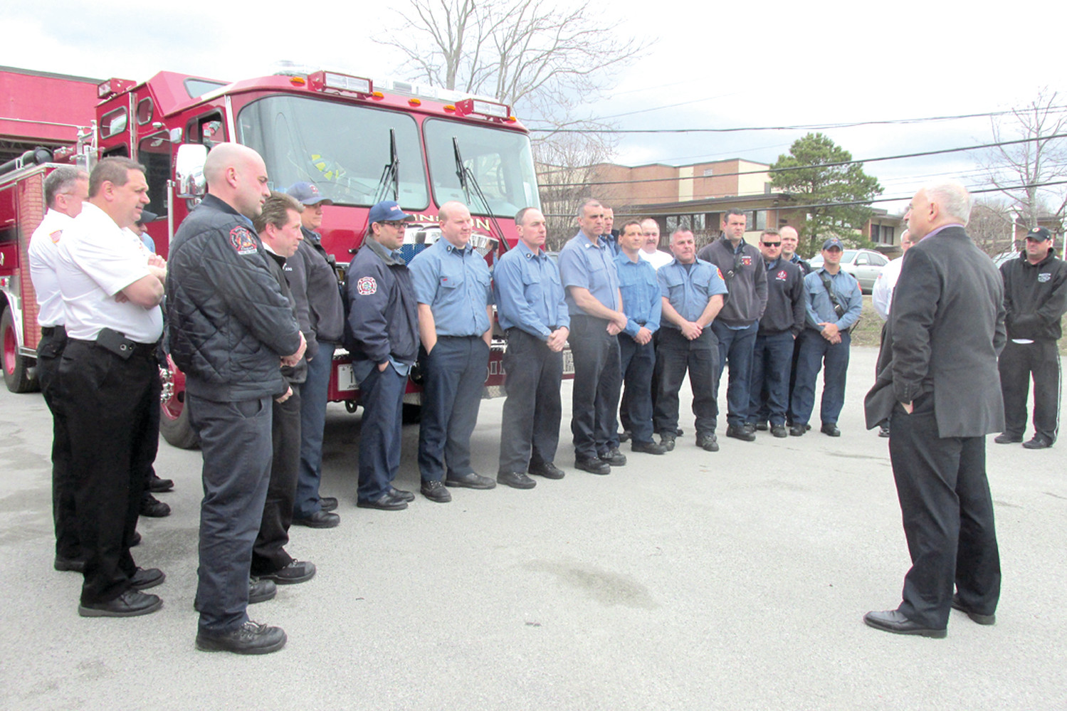 "POLISENA'S PRAISE: Mayor Joseph Polisena addresses the men and women of the Johnston Fire Department saying ""I really appreciate what you do for the citizens of our great town.""  (Sun Rise photo by Pete Fontaine)"