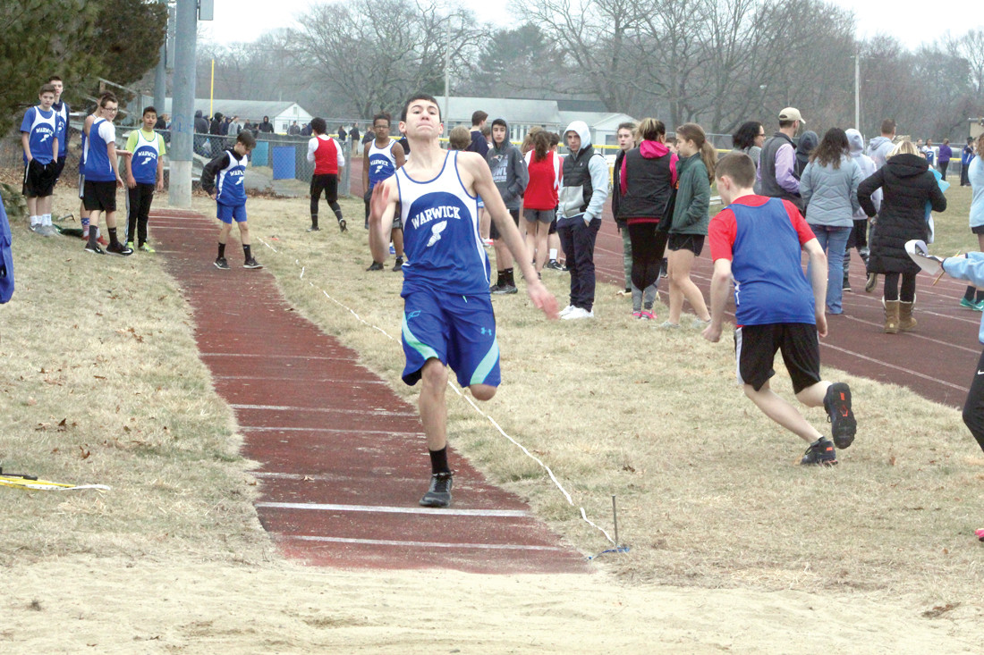 IN THE TRIPLE JUMP: Brady Burke of Vets is about to soar.