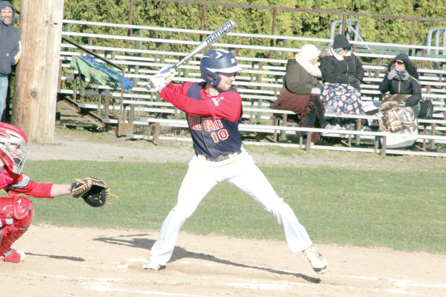 Toll Gate's Andrew Ekroth stands at bat during last Thursday's game against East Providence.