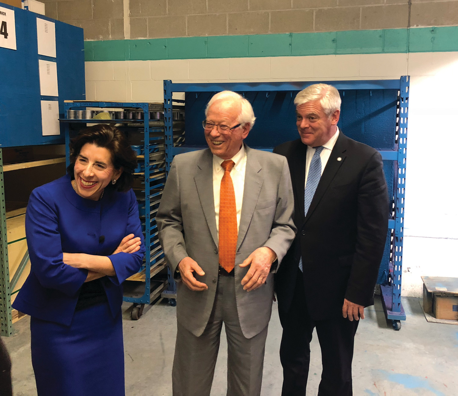ON TOUR: Governor Gina Raimondo, AquaMotion president Hans Kuster and Mayor Scott Avedisian enjoyed a tour through the AquaMotion facility on Jefferson Boulevard in Warwick on Tuesday afternoon.