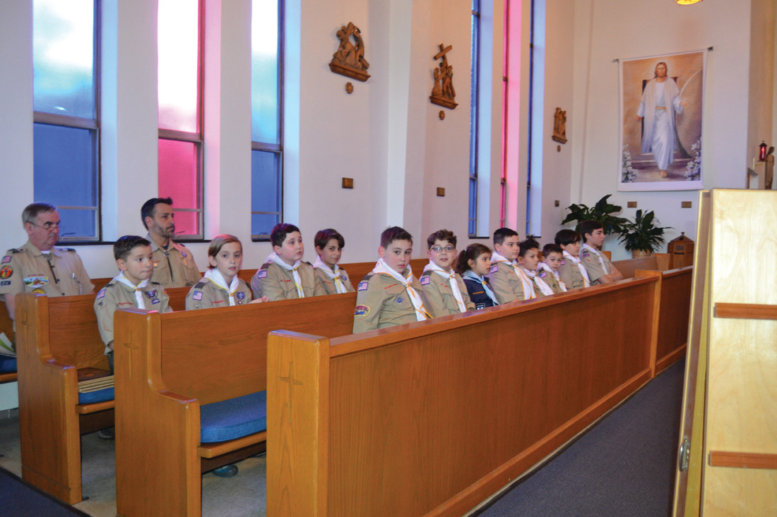 FUTURE EAGLES: Scouts of Troop 20 were on hand to celebrate Patrick's achievements.