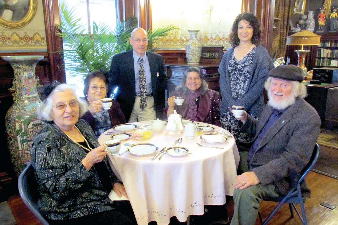 TEA TIME: These are some of the Johnston Historical Society members who enjoyed last Friday's High Tea at the Clouds Hill Mansion in Warwick. They are: Ida Linda Jackson, Steve Merolla, Bel McGowan, Elise Carlson and Louis McGowan.