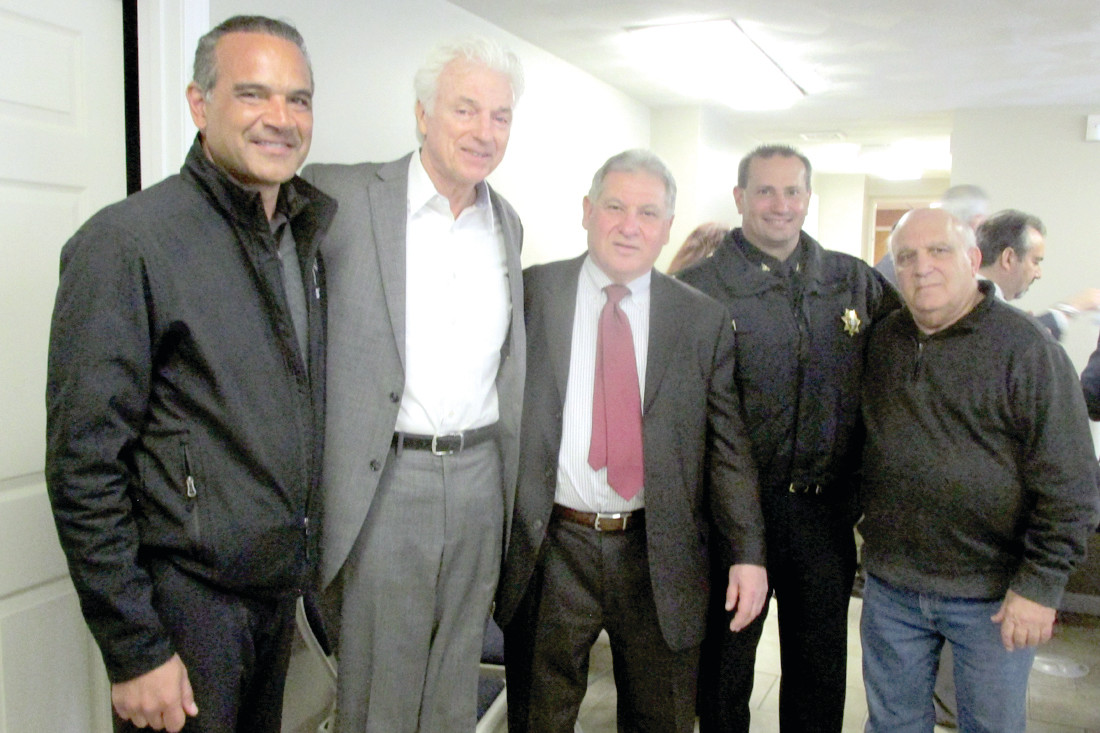 LUNCH BUNCH: Among those people who attended Mayor Joseph Polisena's Networking Luncheon Tuesday were (from left) Frank Caprio, Kevin Stacom, Bob Giudici, David DeCesare and Arnie Vecchione.