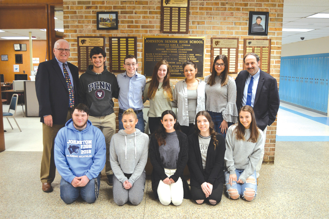 BEST OF THE BEST: Joined by Superintendent Dr. Bernard DiLullo Jr. and Principal Dennis Morrell, this year's Top 10 of the class of 2018 include (bottom row) Philip Jessop Jr., Aley Blakney, Gabriella Scarcella, Leah Spirito and Gina Aquilante, (back row) Benjamin Budway, Matthew Eisemann, Lauren Papa, Yuvia Morales and Alyssa Johnson.