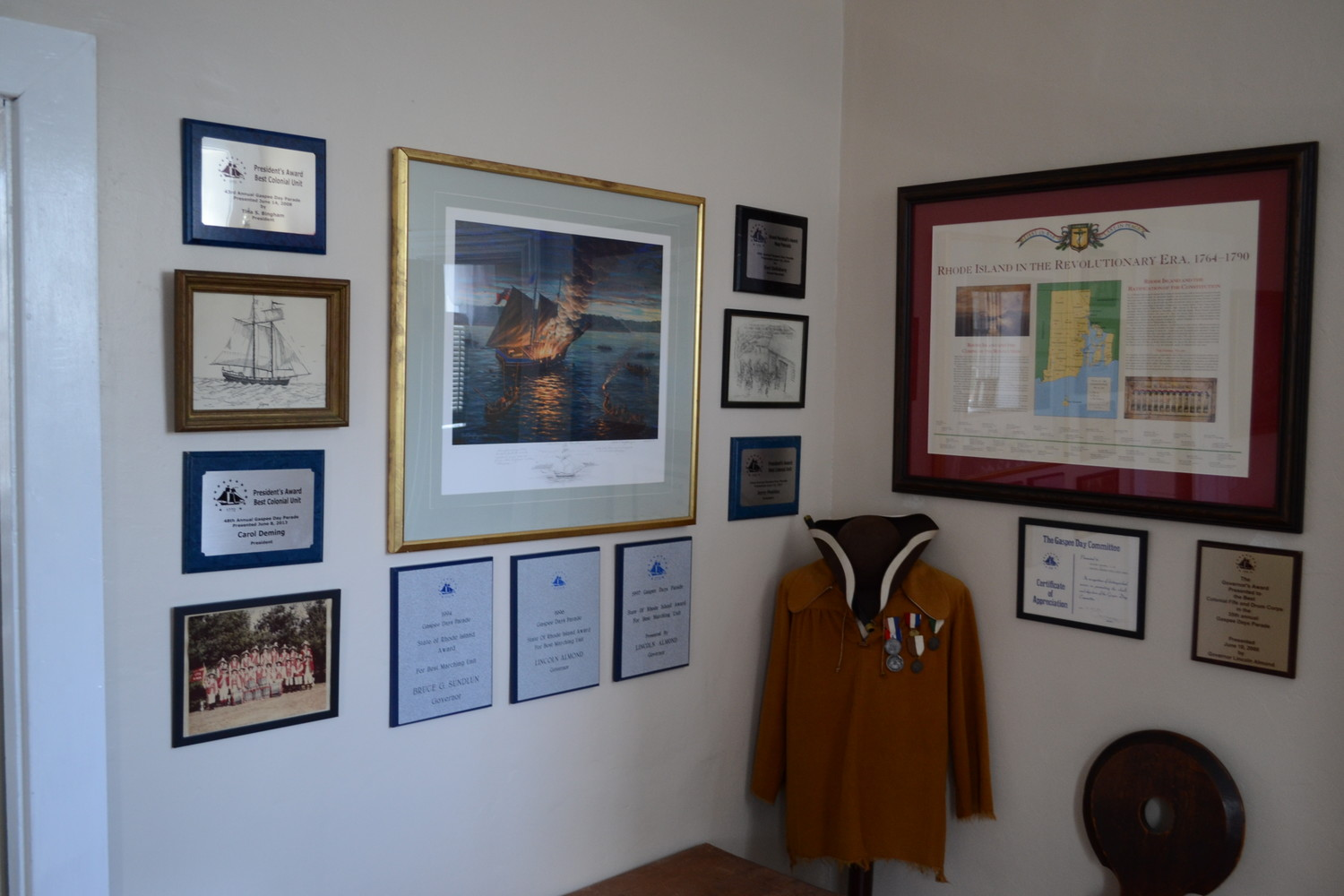 LEARNING OF THE GASPEE: An entire portion of an upstairs room is dedicated to teaching about the burning of the Gaspee, and includes paintings and historical artifacts.