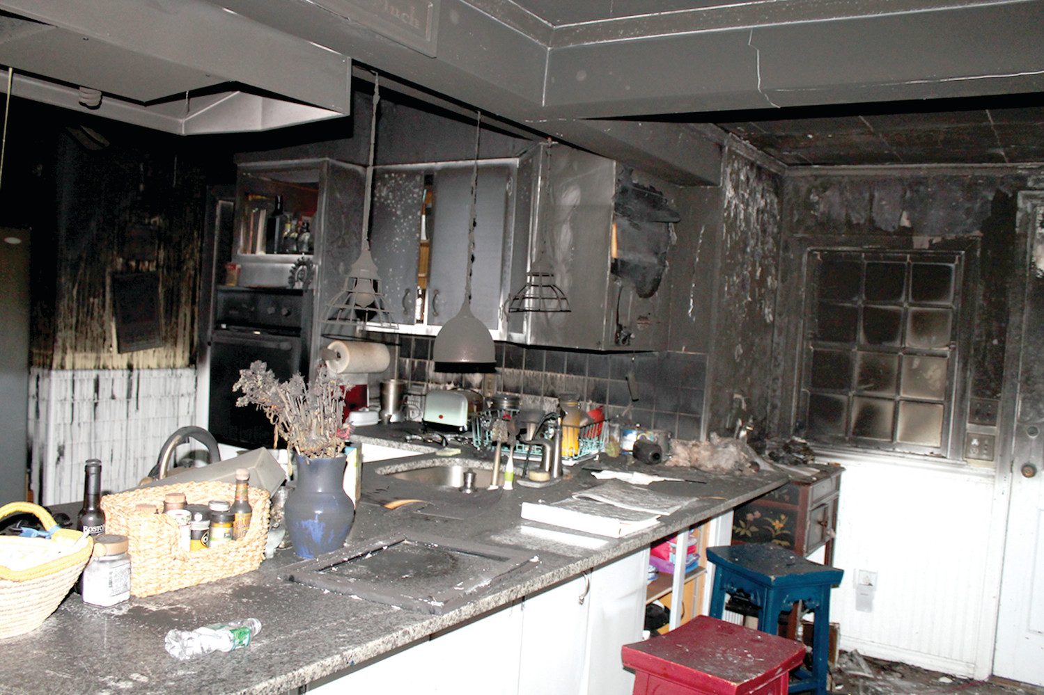 AFTERMATH: The inside of the Colantuono house following a fire which has forced the family to temporarily relocate.