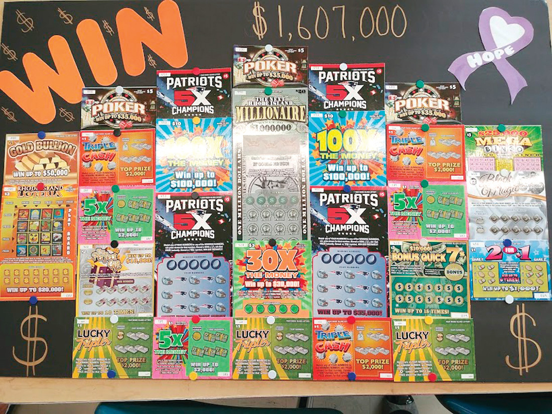 OVER ONE MILLION DOLLARS CAN BE YOURS: The staff members on the Patriots Team at Park View donated the lottery tickets shown here. The entire collection of tickets will be raffled off as part of the silent auction at the pasta dinner, the winner receiving any and all lottery ticket winnings.