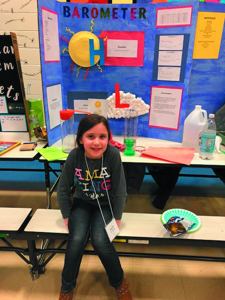 NO PRESSURE: Autumn Cardarelli, Grade 2, presents her project on what barometers do.