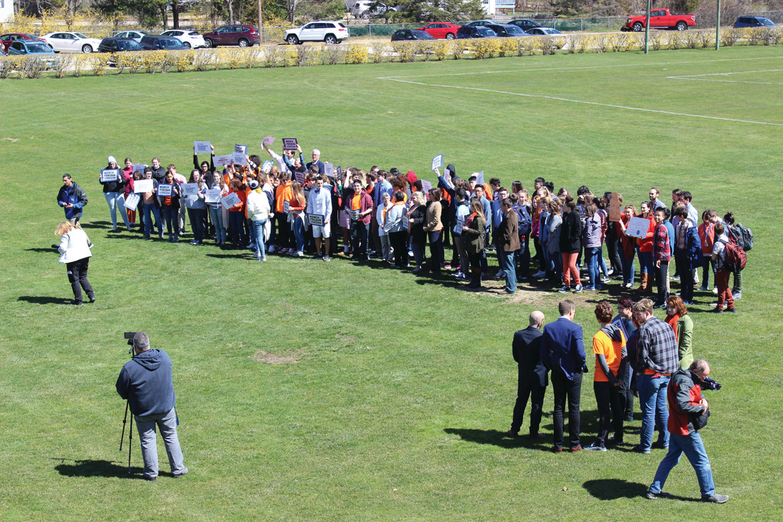 DEMONSTRATION: Rocky Hill upper school students participated in Friday's #NationalSchoolWalkout Day of Action Against Gun Violence.