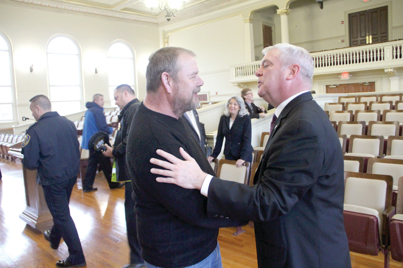 CHANGING TIMES: City director of buildings and grounds, Joe Blake, joined other municipal directors in thanking Mayor Scott Avedisian yesterday morning after he told them he would be leaving the job to become CEO of RIPTA.