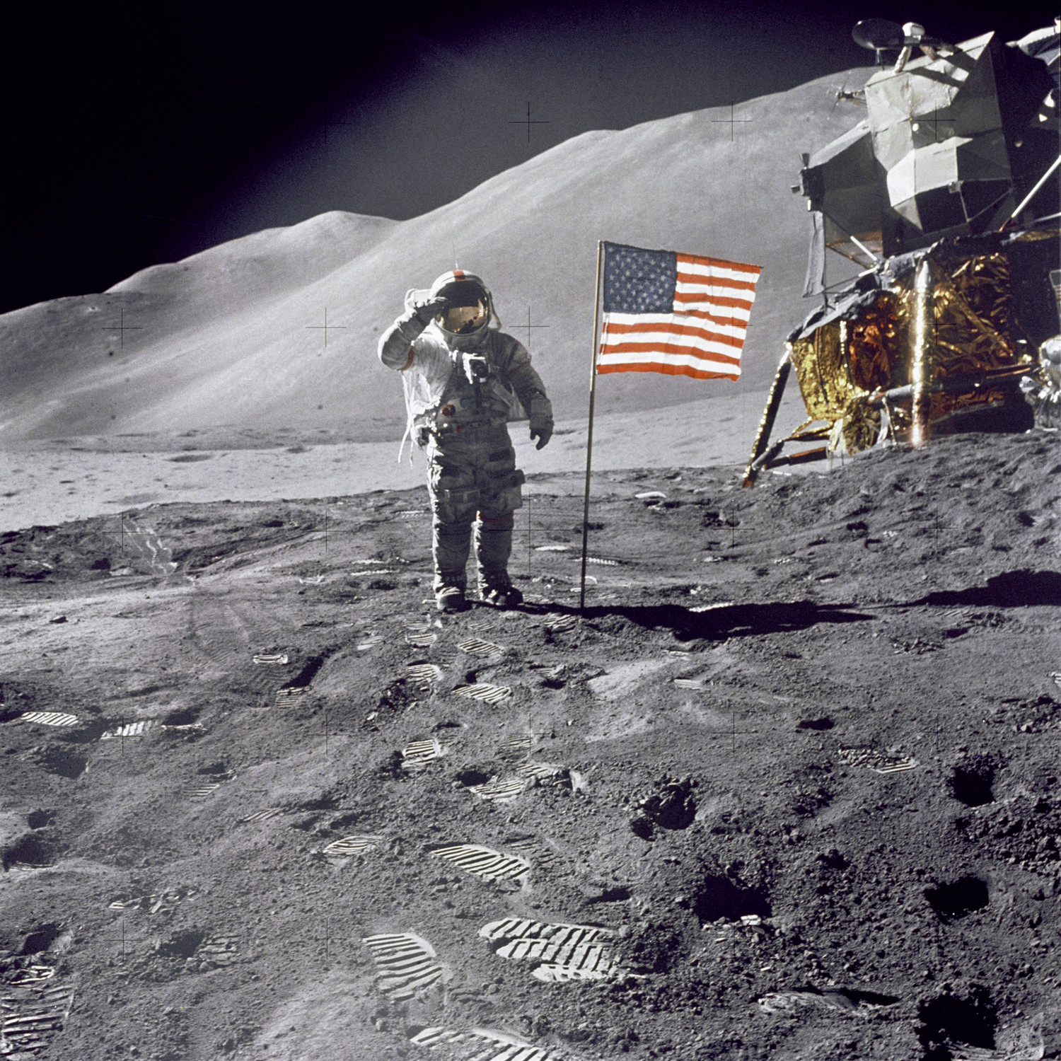 A photo taken during the Apollo 15 mission, with Commander David R. Scott saluting the camera.