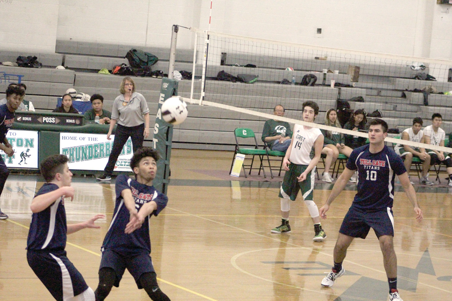 Toll Gate's Calaeb Murray gets ready to power the ball over the net