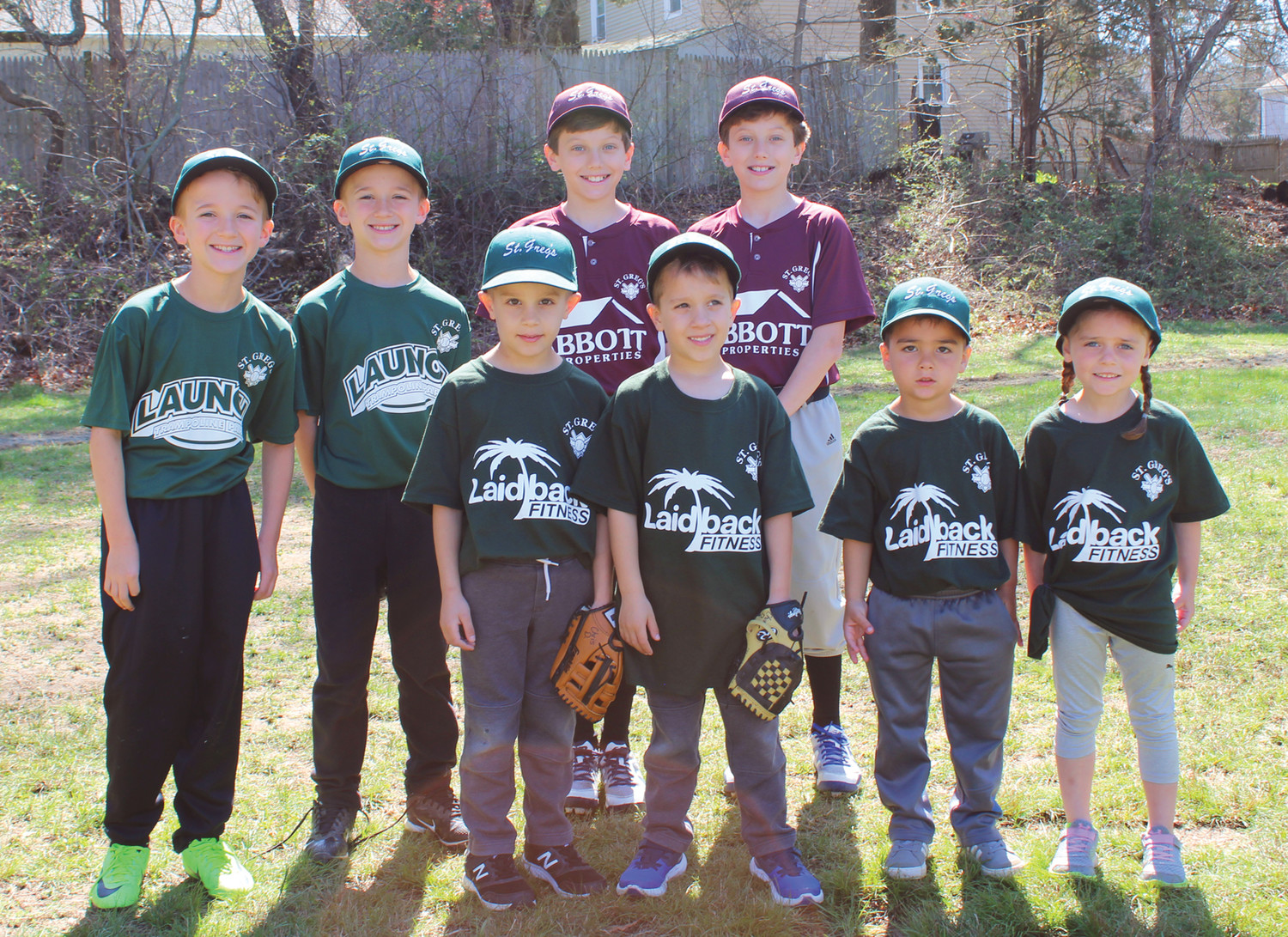 The St. Gregory the Great Baseball League kicked off its season. In the group photo on top from back left: Oliver and Bennett Jackson, Josh and John Maynard. Front left to right: Christohper and Charlie DeRaffaele and Ben and Mia Goodine. Missing are Thomas and Edmund Sardelli.