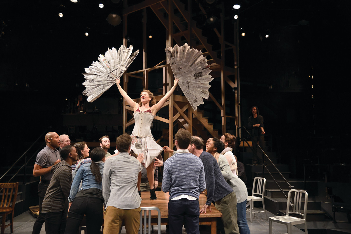 "Rebecca Gibel as Evelyn Nesbit and cast of ""Ragtime,"" based on the novel by E.L. Doctorow, book by Terrence McNally, music by Stephen Flaherty and lyrics by Lynn Ahrens. Directed by Curt Columbus. Set design by Eugene Lee, costume design by Kara Harmon, lighting design by Dan Scully and sound design by Peter Sasha Hurowitz."