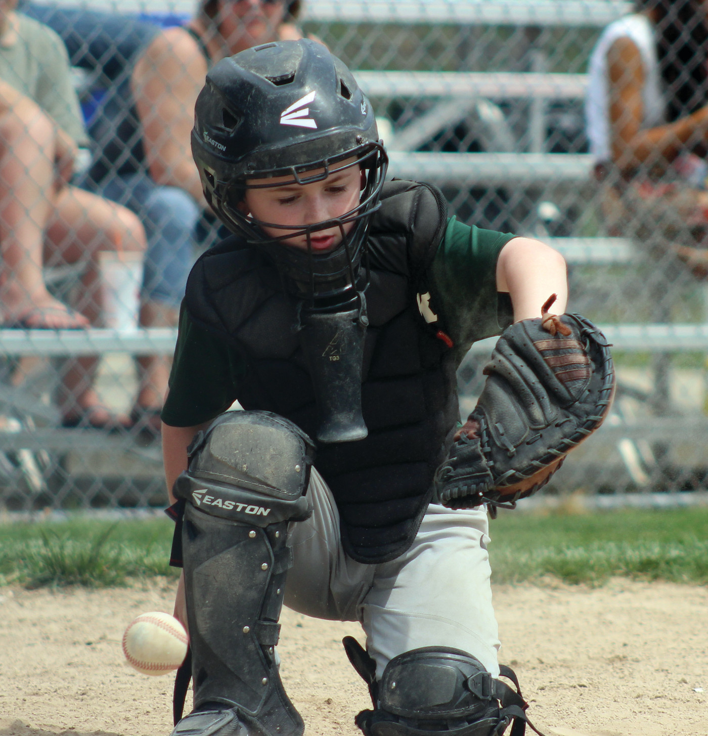 Starbucks catcher Zachari Fontenault makes a stop behind the plate.
