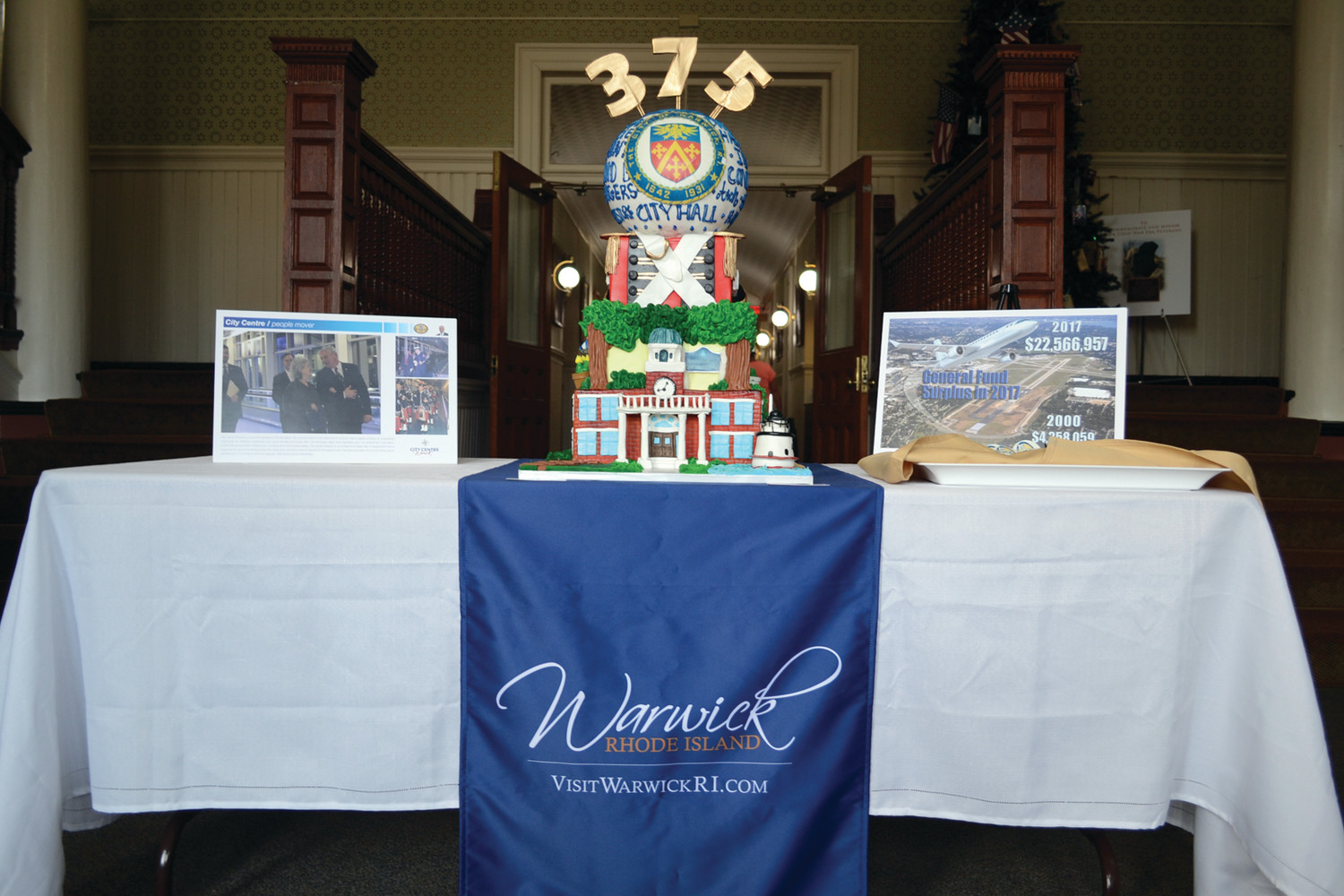 TIME CAPSULE CAKE: A specially-decorated cake from A Piece of Cake highlighted all the major themes of Warwick as part of a celebration of Mayor Scott Avedisian's 18-year tenure in the city. City Hall, the Pawtuxet Rangers and Rocky Point all had homages.
