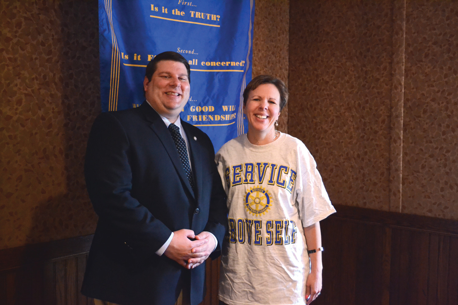 ECHOING THE CHAMBER: Ward 7 City Councilman and Senior Manager of the Eastern Region for the U.S. Chamber of Commerce Stephen McAllister gave an update on business-related issues at the Warwick Rotary's weekly lunch, seen here with Rotary president Donna Caccia.