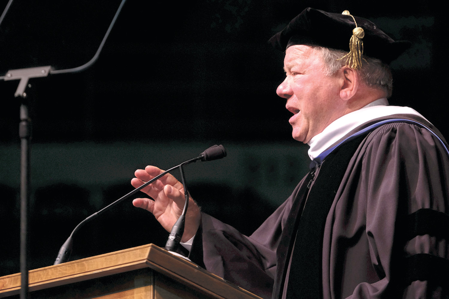 William Shatner addresses graduates.