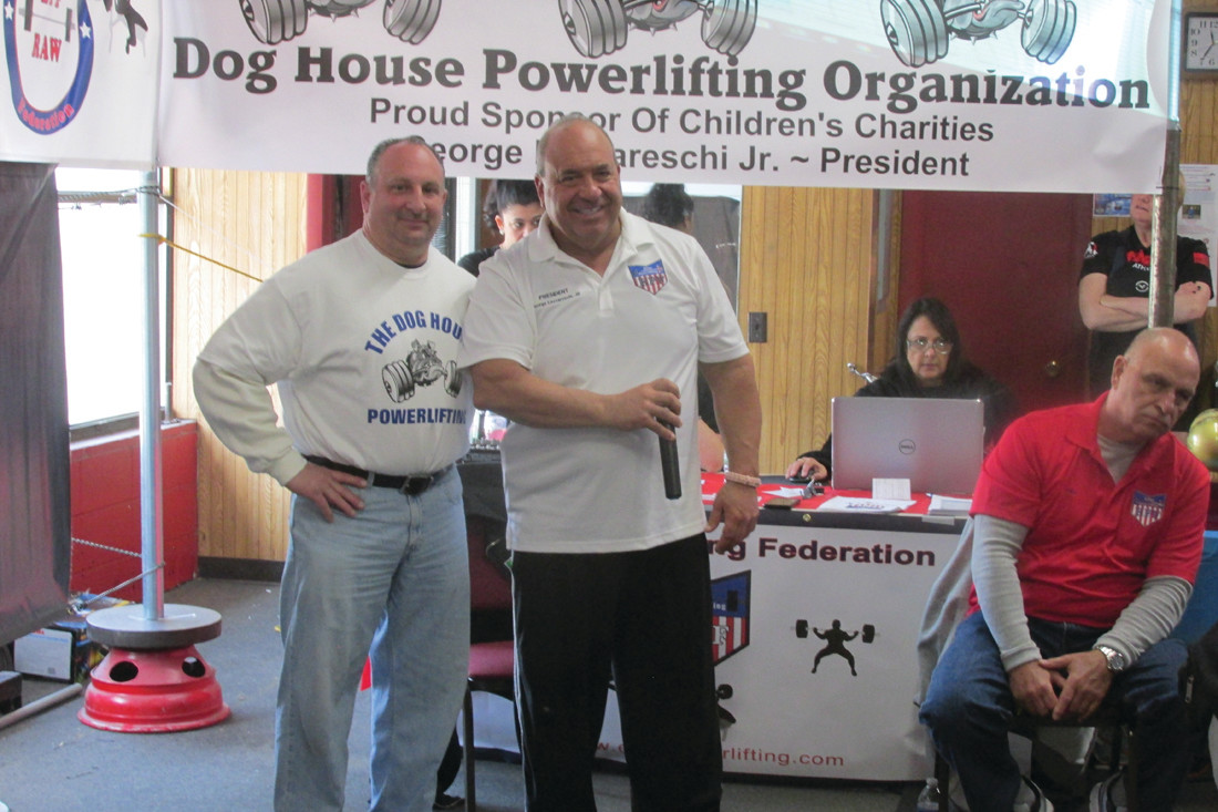 BIG BUDDIES: Long-time friends George Arakelian (left) and George Lazzarreschi were key players in the recent success of the Elite Power Federation's nationally-sanctioned event held in Johnston that set a record for the Dog House Powerlifting Children's Charities.