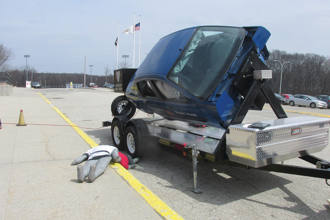 A PREVENTABLE ACCIDENT: This is that the Rhode Island State Police simulator vehicle looked like in a car crash roll over during a recent demonstration by Troopers who visited Johnston High School.