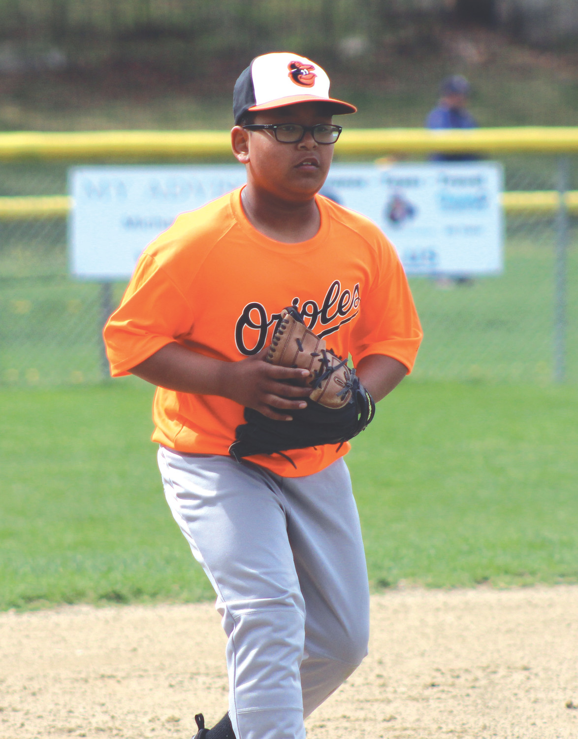 Orioles' Dillon So sets for a ground ball at third base.