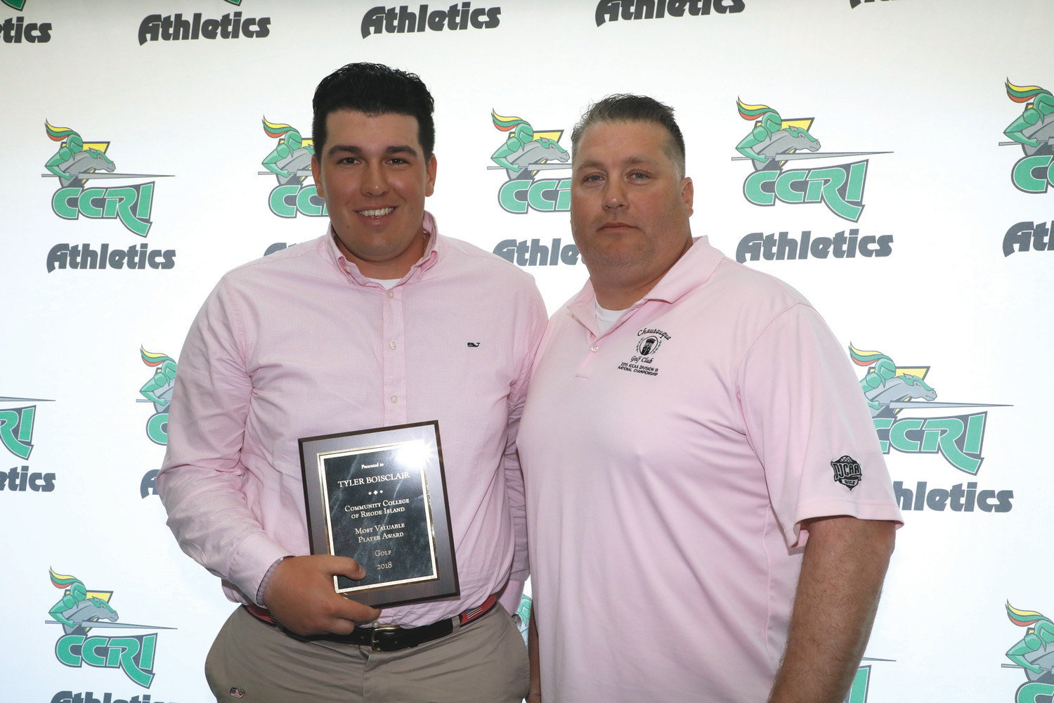 MOST VALUABLE PLAYER: West Warwick native and CCRI golfer Tyler Boisclair (left) celebrates his CCRI Golf MVP award with coach James Stringfellow (right.)