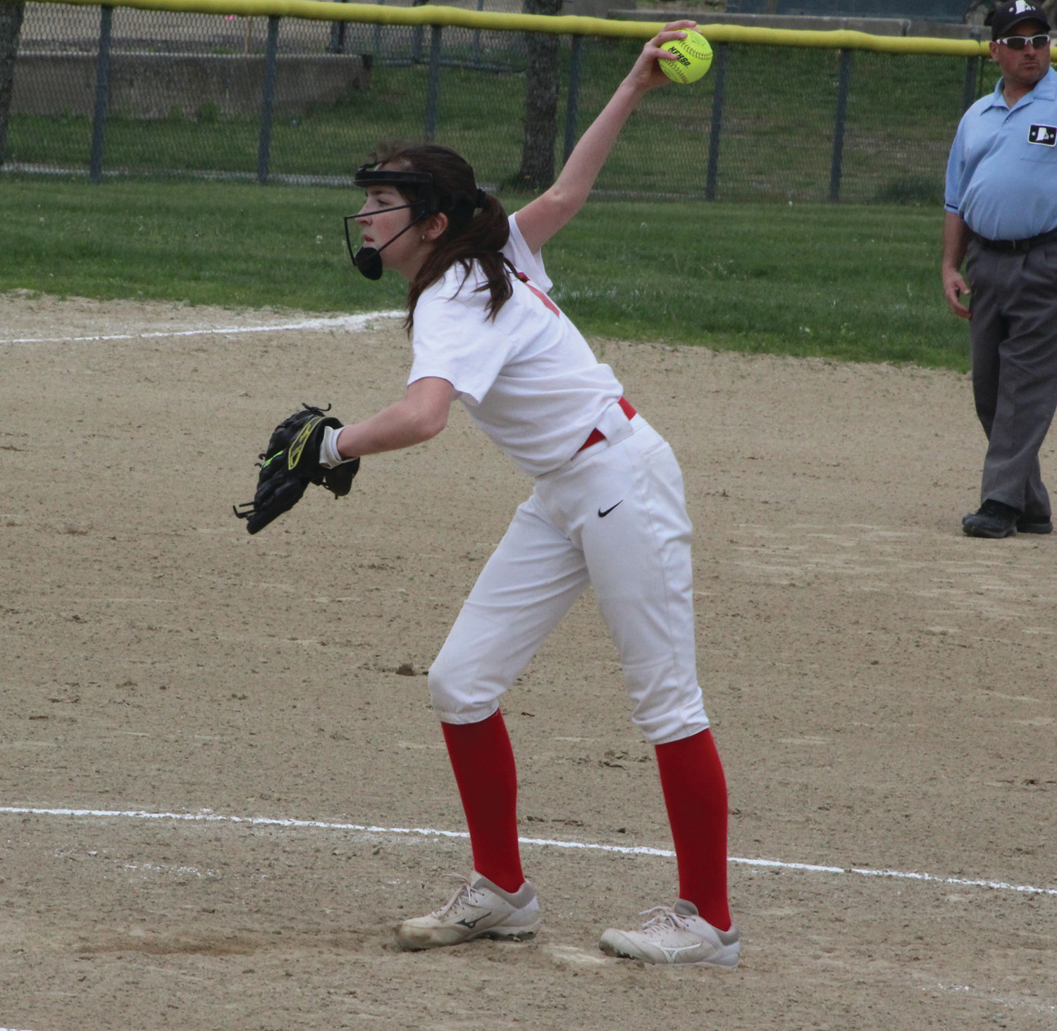 BATTLING: Winman's Julia Krause delivers a pitch against Ferri.