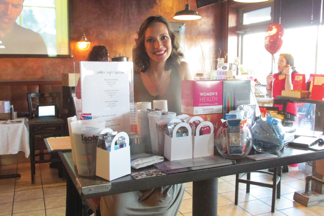 HEALTHY HELPER: Jessica Abreu of Isotonix was among the many vendors at last Thursday night's 3rd Annual Red Nose Ladies Night in Johnston.