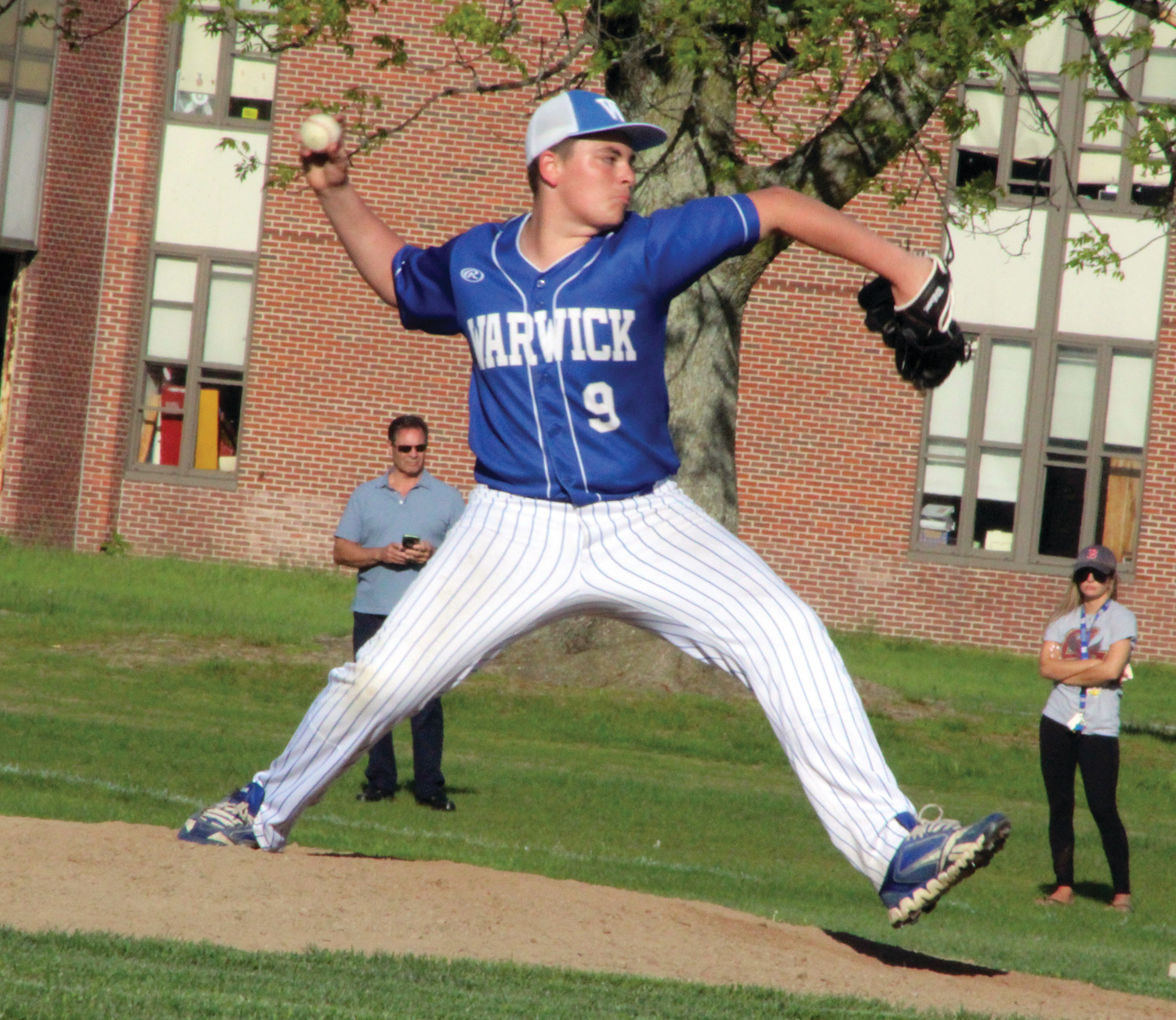 ON THE RUBBER: Vets' Sean Gallagher delivers a pitch against Immaculate Conception on Monday afternoon.