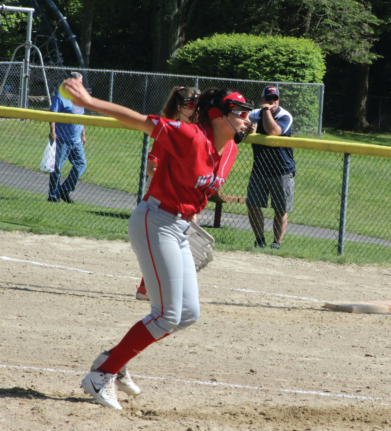 Cranston West's Livia Feole delivers a pitch.