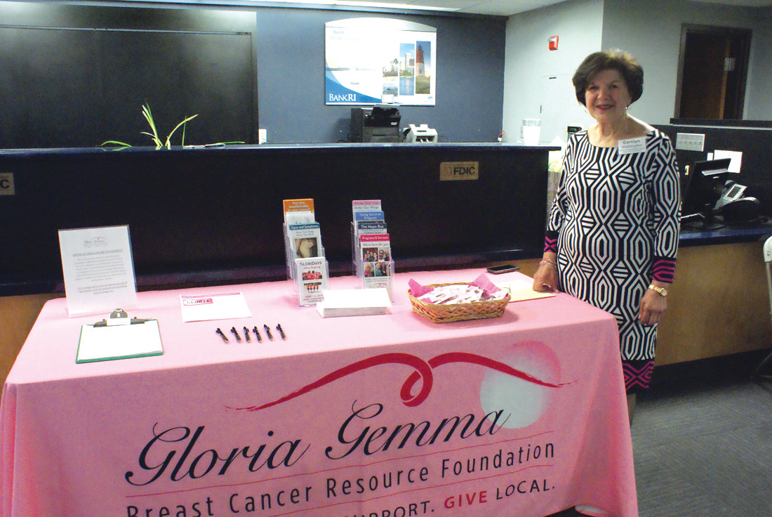 GOING PINK: Representing the Gloria Gemma Breast Cancer Resource Foundation during Women's Wellness Night at BankRI was Carolyn Waddington.