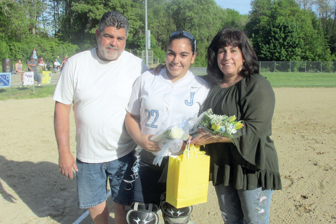 KAT'S CORNER: JHS fast-pitch softball catcher Katerina St. Angelo and her parents Gerry and Melissa St. Angelo were among those Lady Panthers honored during emotional pre-game ceremonies Monday night at Mazzulla Field. (Sun Rise photos by Pete Fontaine)