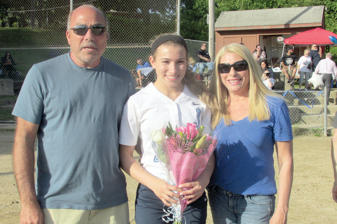 SENIOR STANDOUT: Jordan Moretti had yet another great game for the Johnston High softball squad Monday and was honored along with her parents Arthur and Joann during pregame ceremonies at Mazzulla Field.
