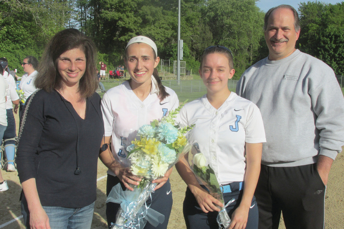 "SOFTBALL STARS: JHS seniors Lauren Civetti (second left) and Cheyenne Day are joined by Carol and Robert Civetti during Monday night's special ""Senior Sendoff"" for five players who everyone from coaches to athletic department officials said will be hard to replace given their athleticism and talents."