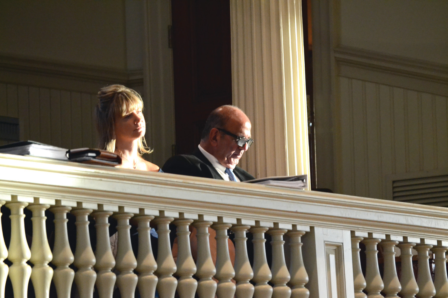 WATCHFUL EYE: Acting mayor Joseph Solomon made good on his promise to attend council meetings, observing from the upper balcony on Monday evening.