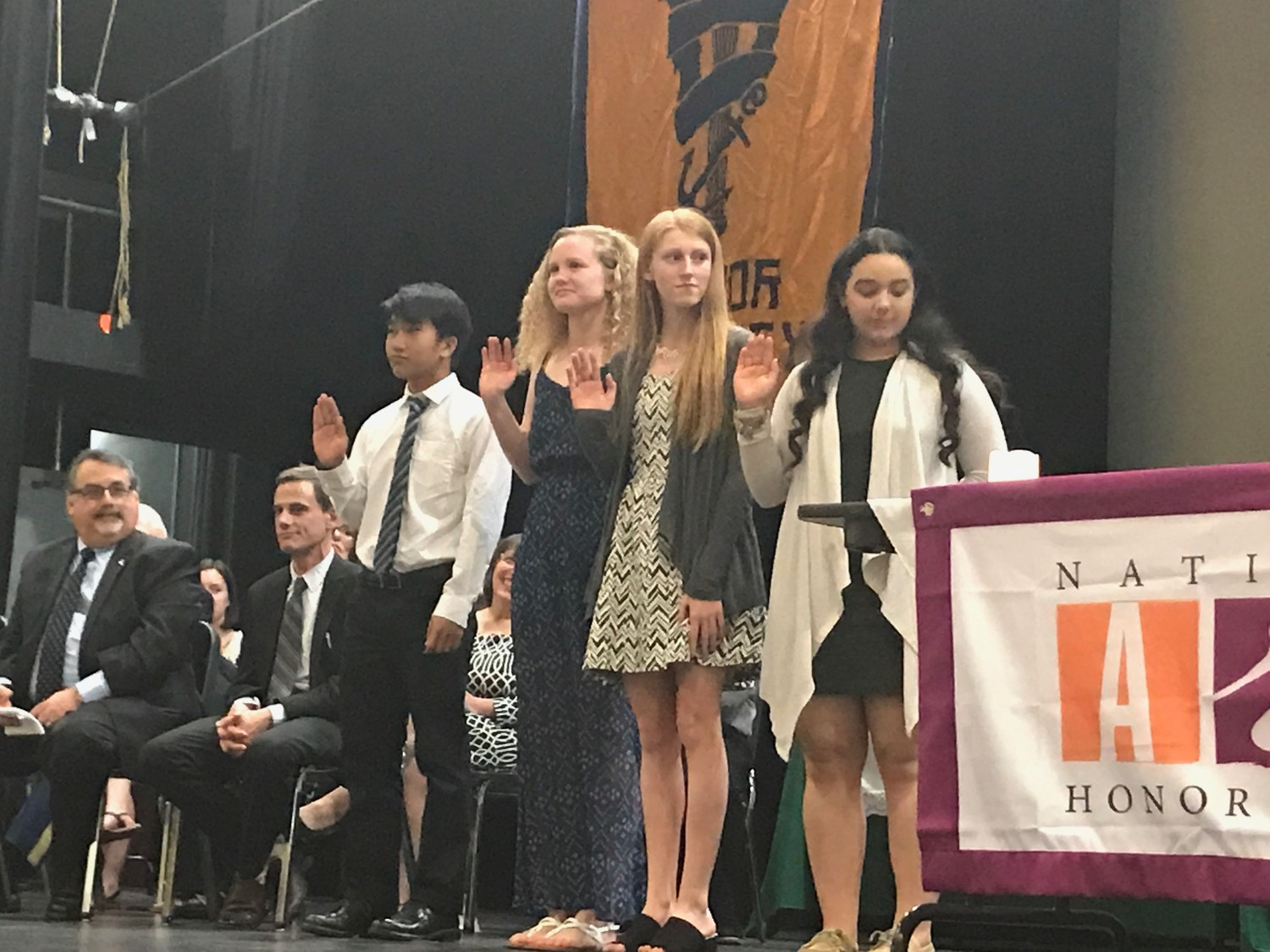 THE NEW REGIME: The newly inducted officers for the National Honor Society class of 2019 are (l-r) secretaries Sokpearoun Lorn and Elanor Trimm, vice president Delia Maguire, and president Adriany Cruz.