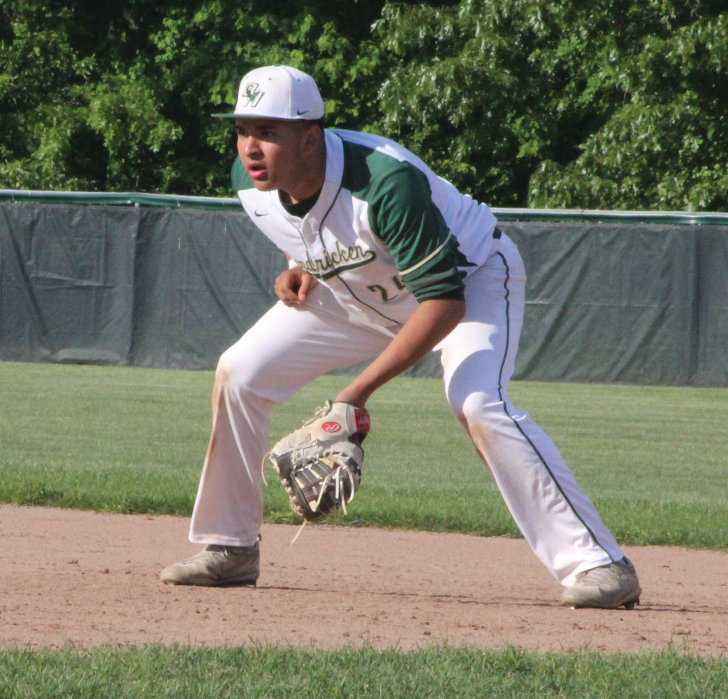 Bishop Hendricken first baseman Joseph Ortiz gets ready to make a play.