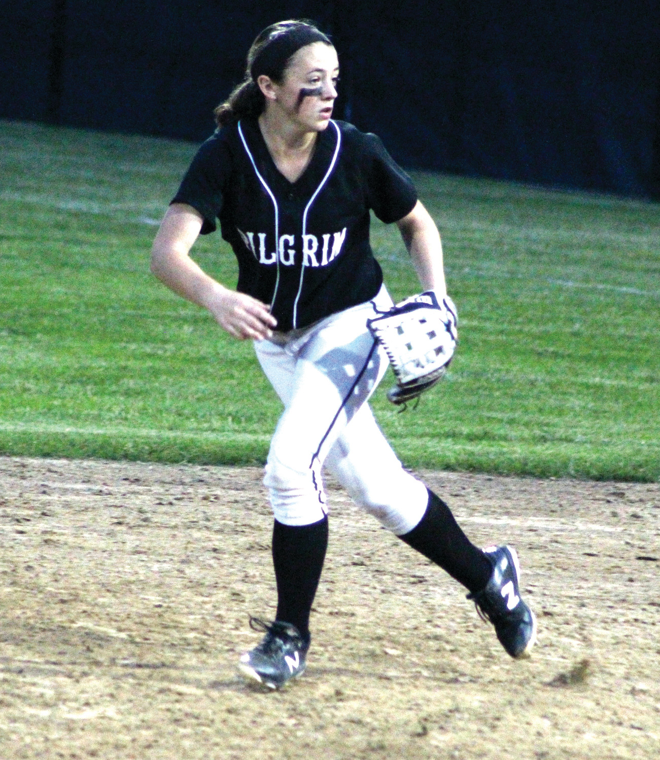 Pilgrim's Madi D'Amato looks to make a play at second base for the Patriots.