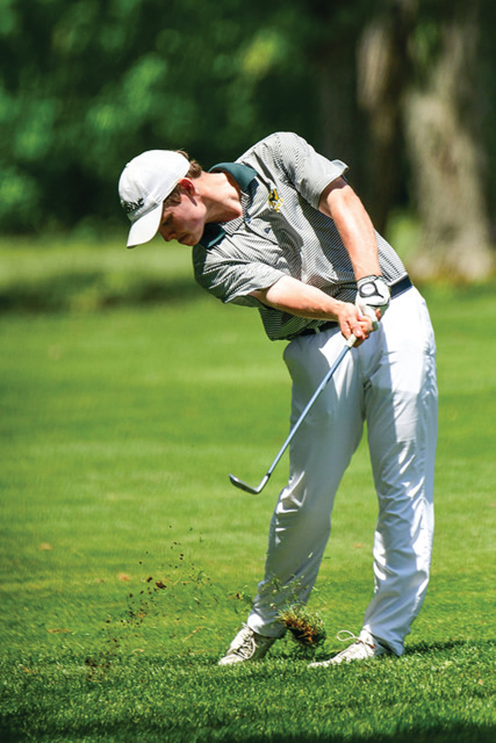 STATE CHAMP: Bishop Hendricken's Colin Sutyla takes a shot during the 2018 state championship.  Sutyla won the state individual tournament.