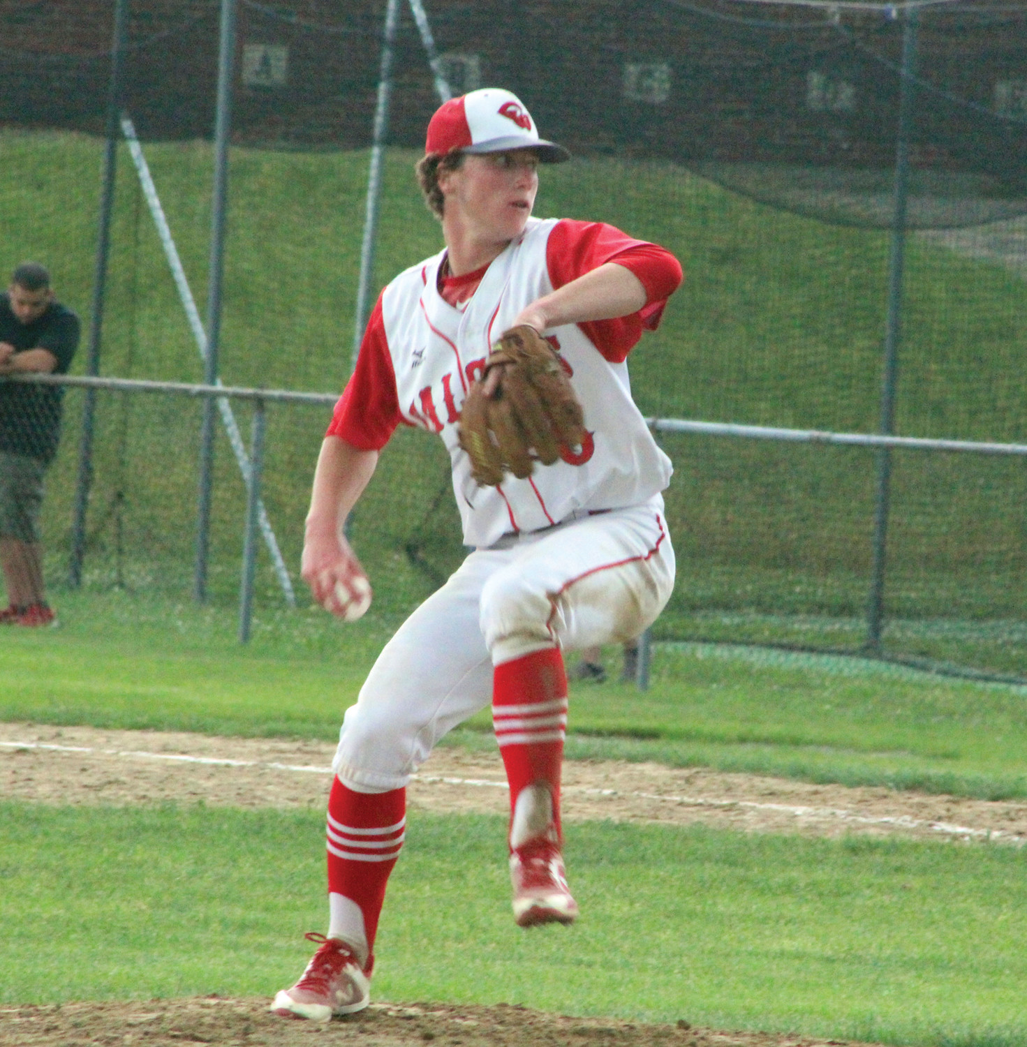 PLAYOFF BASEBALL: Cranston West pitcher Cam Harris delivers a pitch.