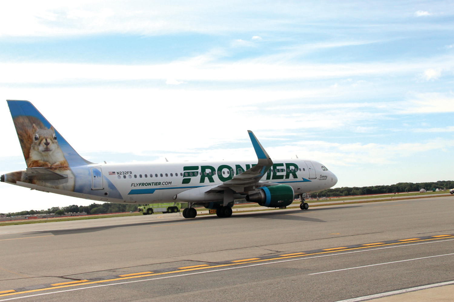 FUEL TAX INCOMING?: A Frontier jet taxis on the runway at Green during its inaugural flight at the airport.