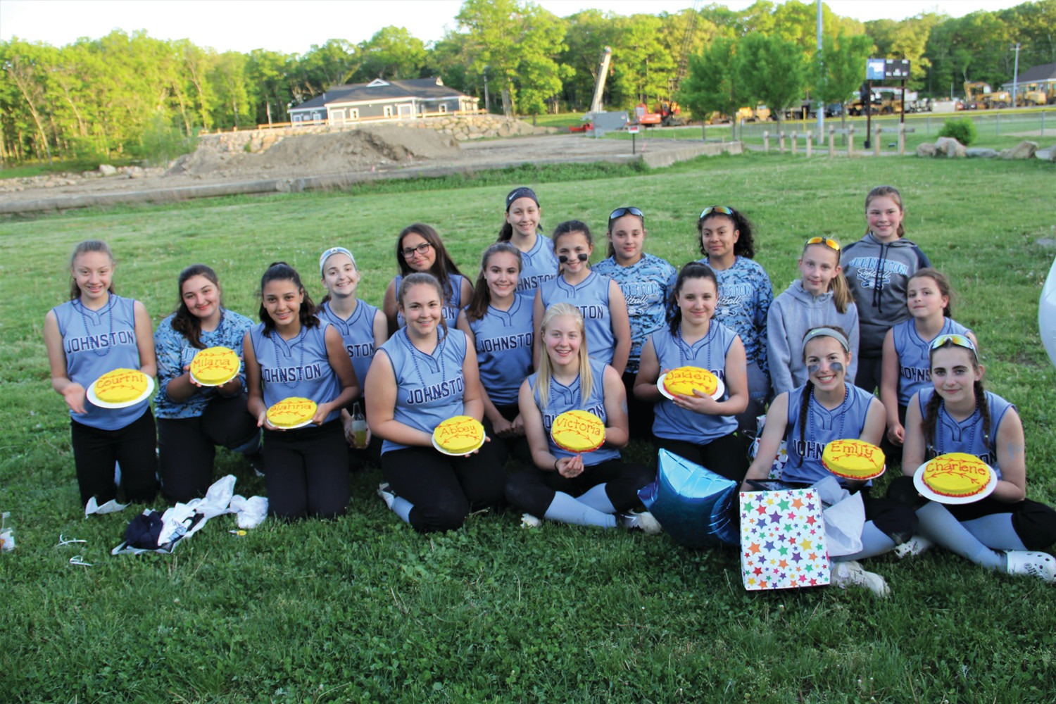 GROUP PIC: The Ferri Middle School softball team celebrated its 8th grade night during its final regular season game. The Ferri 8th graders showed off their celebratory cakes. Pictured from left: Courtni Beaulieu, Milana Melvin, Gianna Robinson, Abigail Alviti, Victoria Winsor, Jaiden Tonucci, Emily Iannuccilli and Charlene Hohlmaier (Submitted photo)