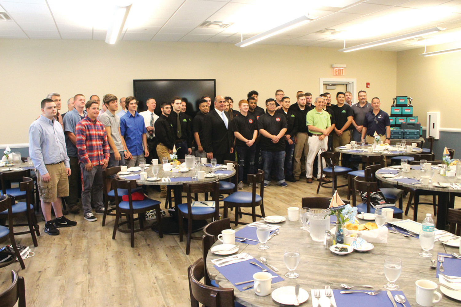 AT SCHOLARSHIP EVENT: Building trades officials, faculty, students and Acting Mayor Joseph Solomon joined Wednesday for the award of Tools of the Trade scholarships.