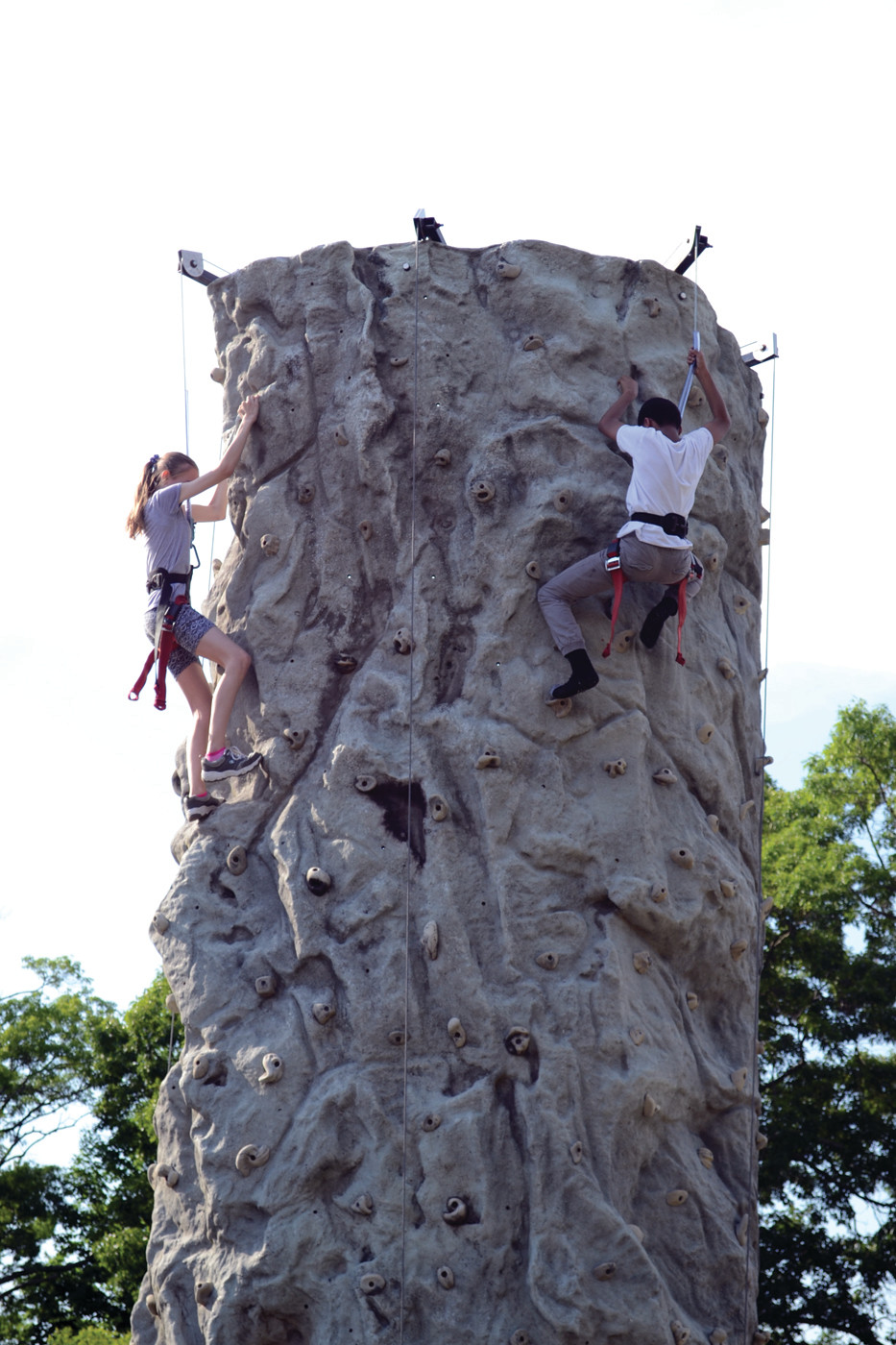 Students scaled a rock wall.