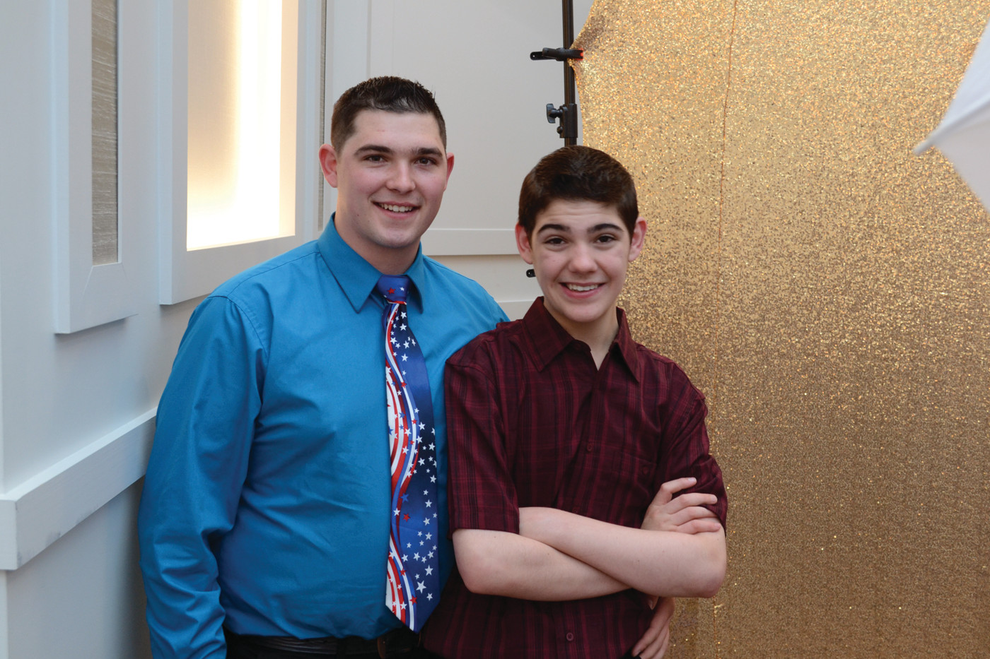 BROTHERLY LOVE: Aaron Barber (right) with Jonathan Barber at the Pathways Prom on Friday at the Crowne Plaza.
